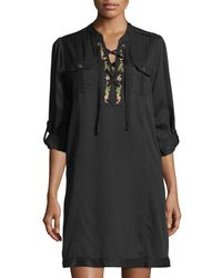 Philosophy Black Lace-up Embroidered Shift Dress