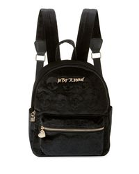Betsey Johnson - Black Velvet Skulls Medium Backpack - Lyst