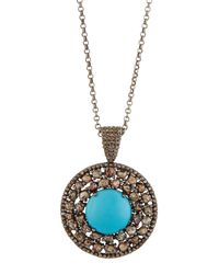 Bavna - Metallic Round Turquoise & Polki Diamond Pendant Necklace - Lyst
