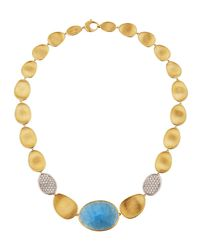Marco Bicego - Metallic 18k Lunaria Necklace W/ Aquamarine & Diamonds - Lyst