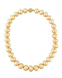Belpearl - Metallic 14k Graduated Golden Button South Sea Pearl Necklace - Lyst