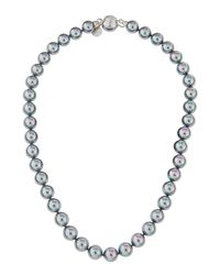 Majorica - Gray Beaded Pearl Necklace - Lyst