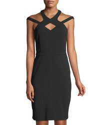 Cece by Cynthia Steffe - Black High-neck Cutout Scuba Dress - Lyst