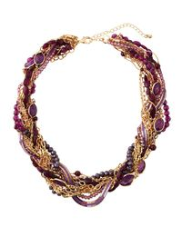 Lydell NYC - Purple Torsade Beaded Necklace - Lyst