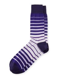 Bugatchi - Purple Striped Cotton-blend Socks for Men - Lyst