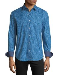 Bugatchi - Blue Classic-fit Scribble Sport Shirt for Men - Lyst