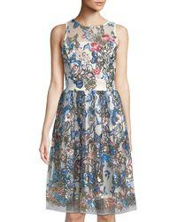 Neiman Marcus - Blue Sequined-floral Illusion Midi Dress - Lyst