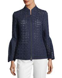 Akris Blue Grid-mesh Bell-sleeve Jacket