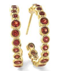 Ippolita | 18k Glamazon Stardust #1 Hoop Earrings With Orange Sapphires | Lyst