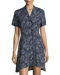 Knot Sisters - Blue Susan Button-front Short-sleeve Dress - Lyst