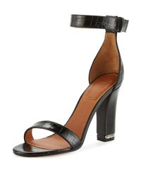 Givenchy - Black Chain Crocodile-embossed 105mm Sandal - Lyst