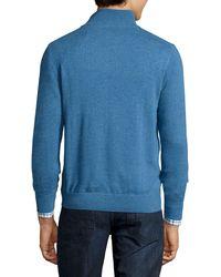 Neiman Marcus - Green Nano-cashmere 1/4-zip Sweater Pullover for Men - Lyst