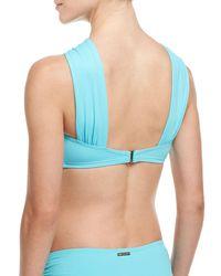 MICHAEL Michael Kors   Blue Beaded High-neck Swim Top   Lyst