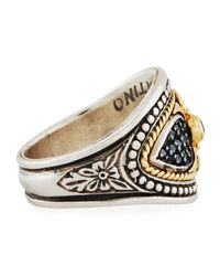 Konstantino - Metallic Asteri Ornate Wide Black Diamond Band Ring - Lyst
