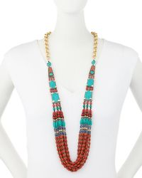 Devon Leigh - Blue Multi-strand Coral & Turquoise Necklace - Lyst