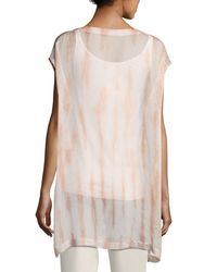Eileen Fisher - Multicolor Cap-sleeve Sheer Silk Shibori Tunic Coral - Lyst