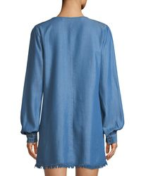Lovers + Friends - Blue Tied To You Chambray Lace-up Dress - Lyst