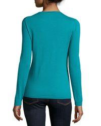 Neiman Marcus - Blue Cashmere Modern Crewneck Sweater - Lyst