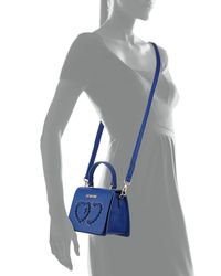 Love Moschino - Blue Top-handle Bag With Grommet Heart - Lyst