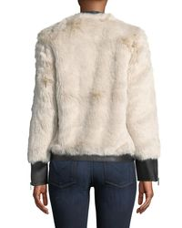 Love Token - Gray Faux Fur Jacket W/ Vegan Leather Trim - Lyst