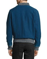 Faherty Brand - Blue Denim Slub Bomber Jacket for Men - Lyst