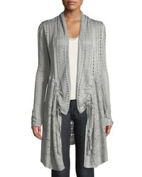 Love Scarlett - Gray Open-stitch Ruched Duster Cardigan - Lyst