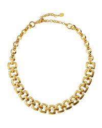 Jose & Maria Barrera | Metallic Hammered Link Collar Necklace | Lyst
