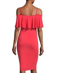 Carmen By Carmen Marc Valvo - Pink Ruffled-popover Cold-shoulder Dress - Lyst