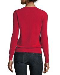 Neiman Marcus - Red Cashmere Crewneck Sweater - Lyst