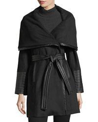 Via Spiga | Black Faux-leather Trimmed Wool Wrap Coat | Lyst