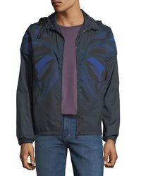 Valentino - Blue Camu Butterfly Zip-front Jacket for Men - Lyst
