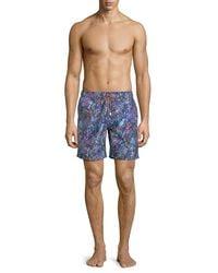 Bugatchi - Blue Paisley-print Swim Shorts for Men - Lyst