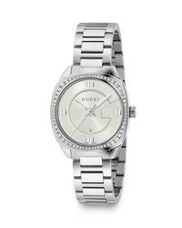 Gucci - White 29mm Stainless Steel Bracelet Watch W/ Diamond Bezel - Lyst