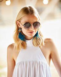Panacea - Blue Druzy & Feather Drop Earrings - Lyst