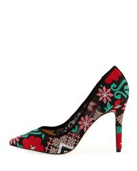 Neiman Marcus - Black Prestige Floral Mesh Point-toe Pumps - Lyst