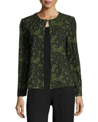 Ming Wang - Green Floral-embossed Knit Jacket - Lyst