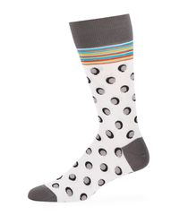 Bugatchi - White Men's Polka-dot Cotton-blend Socks for Men - Lyst