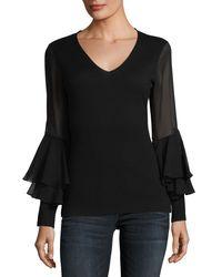 Neiman Marcus - Black Chiffon Ruffle-sleeve V-neck Cashmere Sweater - Lyst