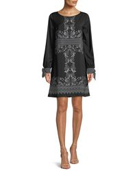 Max Studio - Black Long-sleeve Floral Shift Dress - Lyst