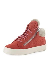 Giuseppe Zanotti - Pink Lace-up Leather High-top Sneakers With Shearling - Lyst