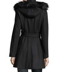 Laundry by Shelli Segal | Black Faux Fur-trimmed Wool Car Coat | Lyst