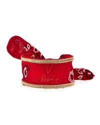 Lydell NYC   Red Chain-trimmed Bandana Cuff Bracelet   Lyst