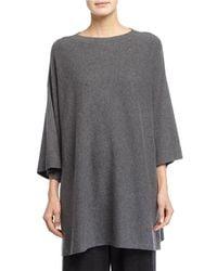 Eileen Fisher - Black 3/4-sleeve Luxe Wool Top - Lyst
