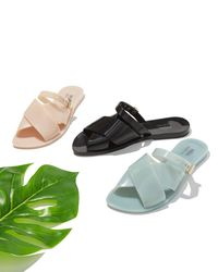 Melissa - Black Diane + Jason Wu Crisscross Slide Flat Sandal - Lyst
