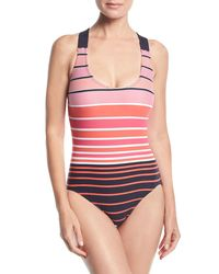 MICHAEL Michael Kors - Pink Striped One-piece Swimsuit - Lyst