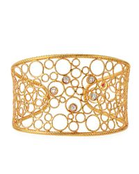 Roberto Coin - Metallic Bollicine 18k Rose & White Gold Cuff W/ Diamonds - Lyst