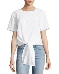 Velvet Heart - White Gertie Button-back Tie-front Poplin Shirt - Lyst
