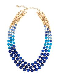 Lydell NYC - Blue Multi-row Graduated Bead Necklace - Lyst