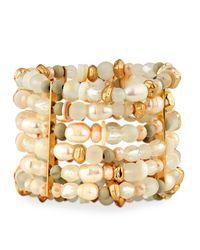 Lydell NYC - Metallic Large Multi-row Beaded Statement Bracelet - Lyst