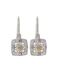 Judith Ripka - Yellow Square Crystal & Sapphire Filigree Drop Earrings - Lyst